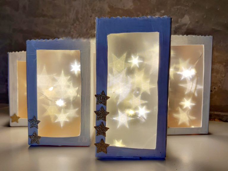 Advent, Advent… Lichter aus  TetraPaks und Effektfolie